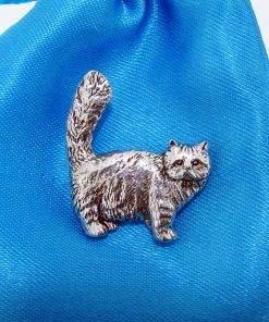 Tabby Persian Cat Pin Badge - high quality pewter gifts from Pageant Pewter