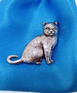 British Shorthair Cat Pin Badge - high quality pewter gifts from Pageant Pewter
