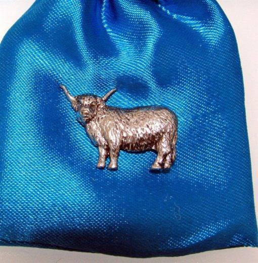 Highland Cow Pin Badge - high quality pewter gifts from Pageant Pewter