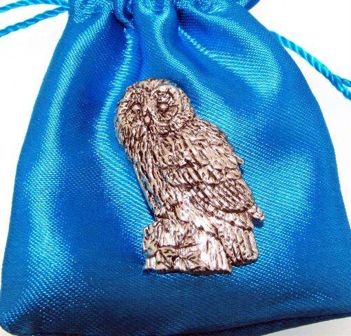 Tawny Owl Pin Badge - high quality pewter gifts from Pageant Pewter