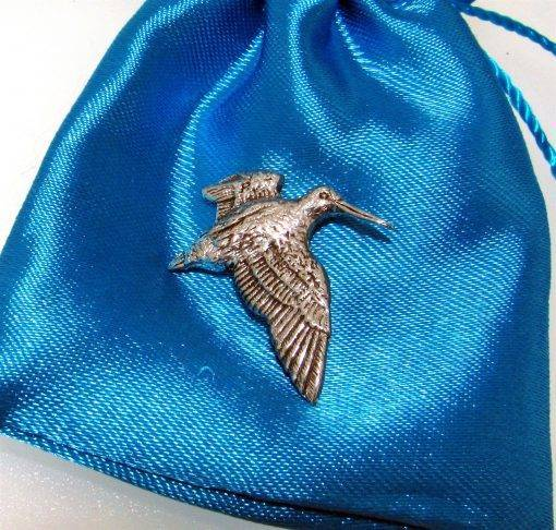 Woodcock Pin Badge - high quality pewter gifts from Pageant Pewter
