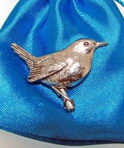 Wren Pin Badge - high quality pewter gifts from Pageant Pewter
