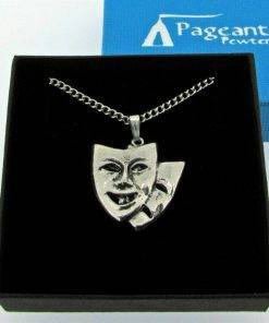 Theatrical Masks Pendant - high quality pewter gifts from Pageant Pewter