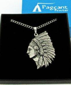 Indian Chief Pendant - high quality pewter gifts from Pageant Pewter