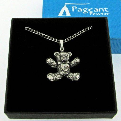 I Love You Teddy Pendant - high quality pewter gifts from Pageant Pewter