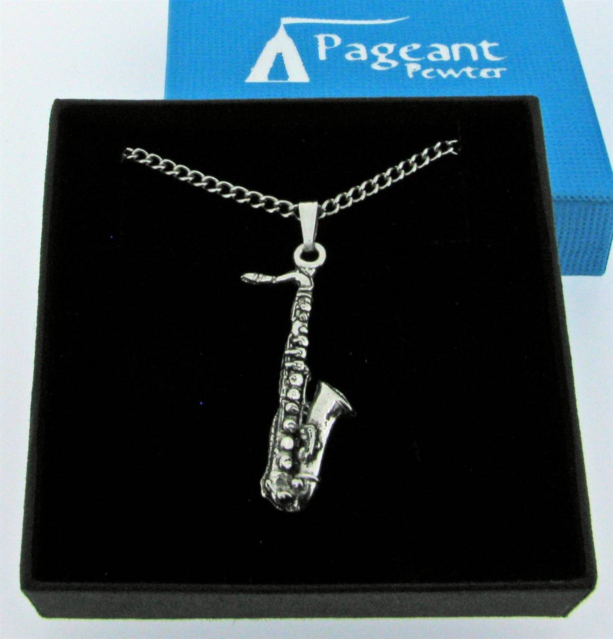 Saxophone Pendant - high quality pewter gifts from Pageant Pewter