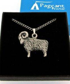 Aries - Ram Pendant - high quality pewter gifts from Pageant Pewter