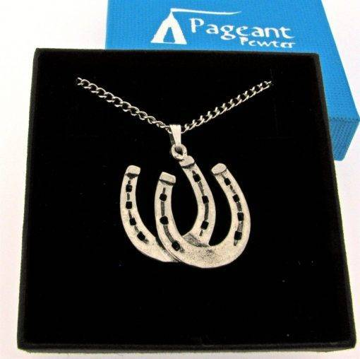 Horseshoes Pendant - high quality pewter gifts from Pageant Pewter
