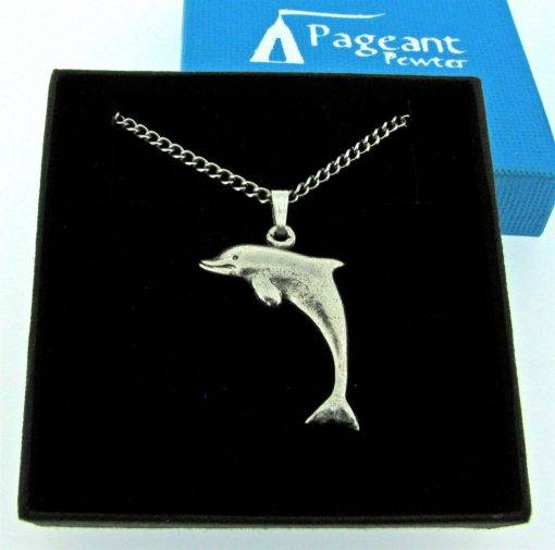 Small Dolphin Pendant - high quality pewter gifts from Pageant Pewter