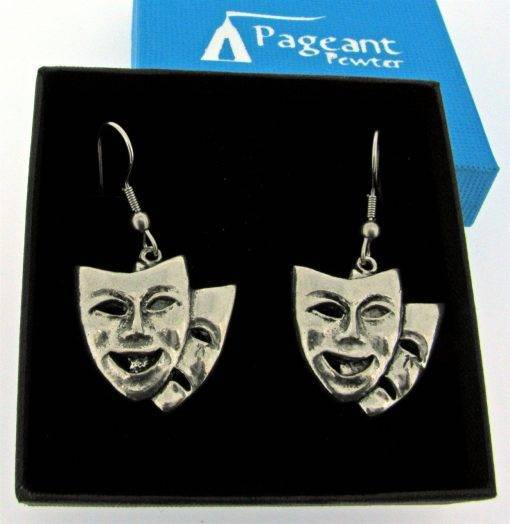 Theatrical Masks Earrings - high quality pewter gifts from Pageant Pewter