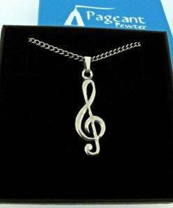 Treble Clef Pendant - high quality pewter gifts from Pageant Pewter