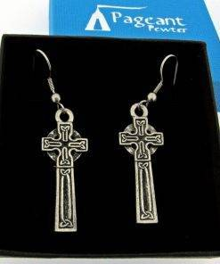 Celtic Cross Earrings - high quality pewter gifts from Pageant Pewter