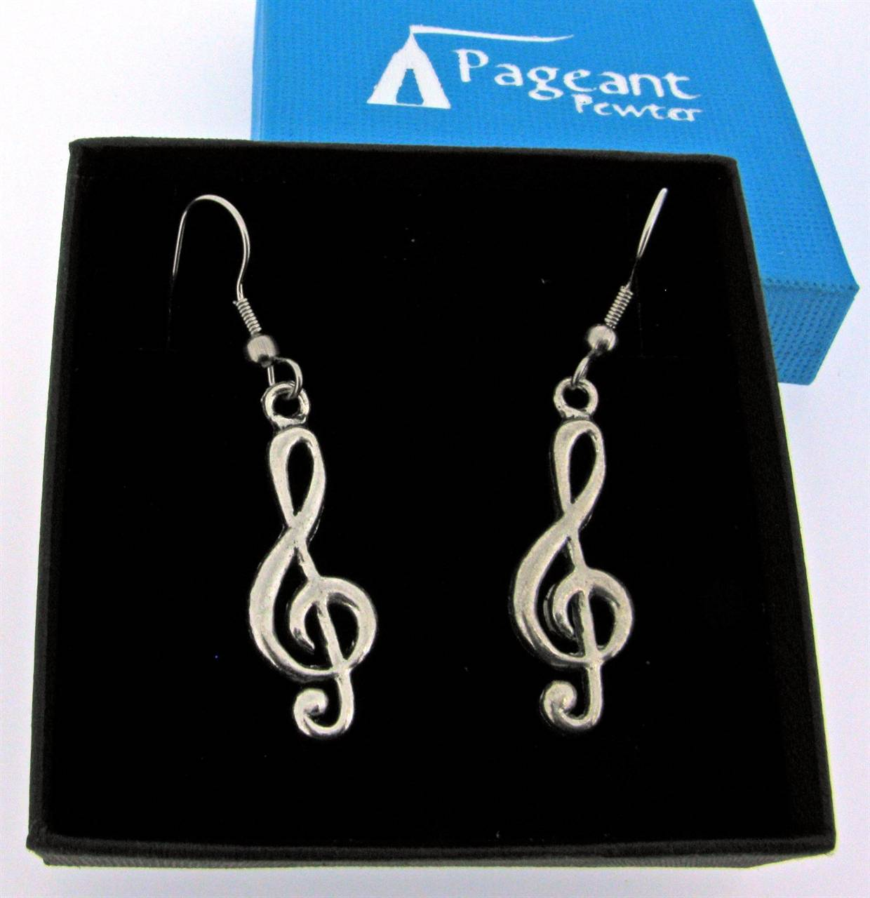 Treble Clef Earrings - high quality pewter gifts from Pageant Pewter