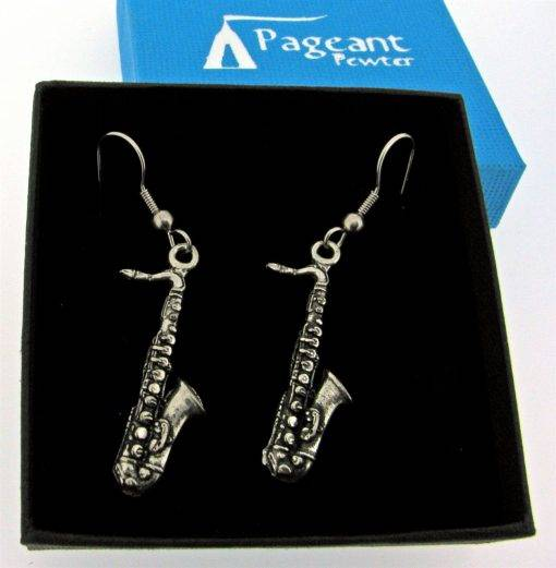Saxophone Earrings - high quality pewter gifts from Pageant Pewter