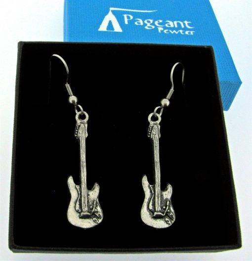 Electric Guitar Earrings - high quality pewter gifts from Pageant Pewter