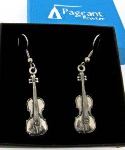 Violin Earrings - high quality pewter gifts from Pageant Pewter