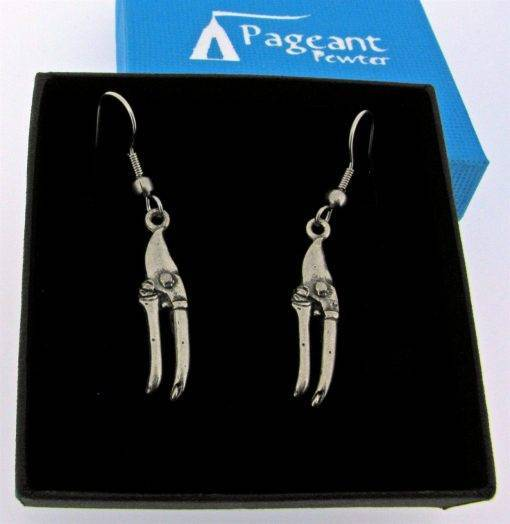 Garden Pruners Earrings - high quality pewter gifts from Pageant Pewter