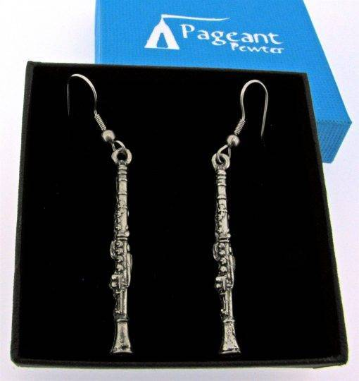 Clarinet Earrings - high quality pewter gifts from Pageant Pewter