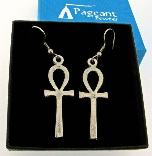 Ankh Earrings - high quality pewter gifts from Pageant Pewter