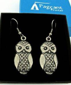 Owl Earrings - high quality pewter gifts from Pageant Pewter