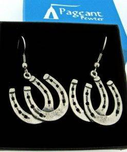 Pair Horseshoes Earrings - high quality pewter gifts from Pageant Pewter