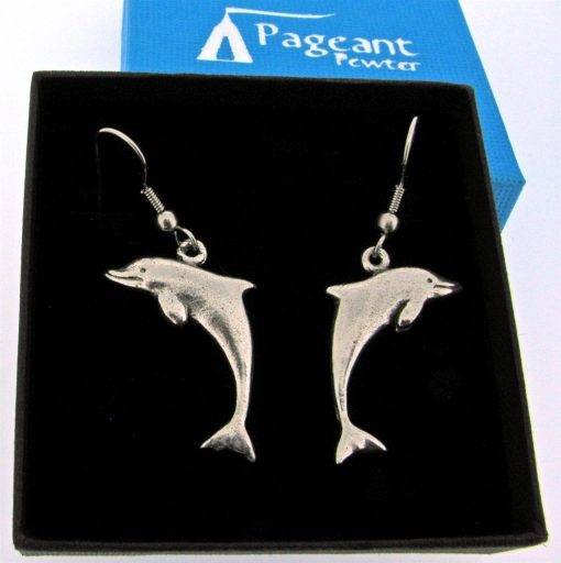 Dolphin Earrings - high quality pewter gifts from Pageant Pewter