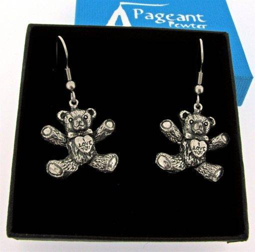 I Love You Teddy Earrings - high quality pewter gifts from Pageant Pewter