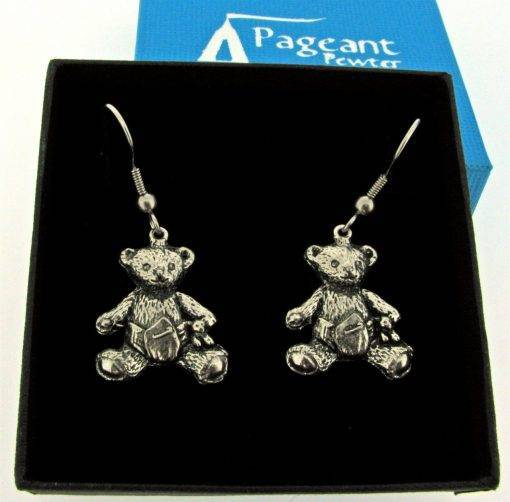 Baby Teddy Earrings - high quality pewter gifts from Pageant Pewter
