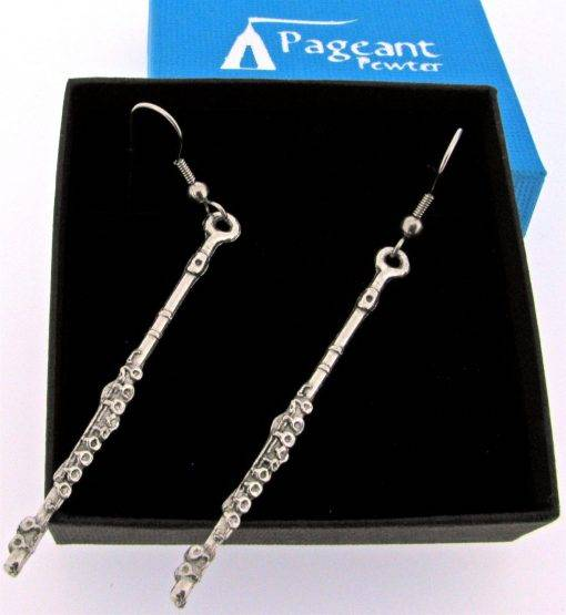 Flute Earrings - high quality pewter gifts from Pageant Pewter