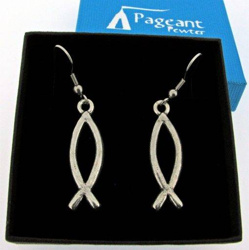 Christian Fish Earrings - high quality pewter gifts from Pageant Pewter