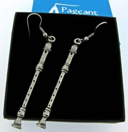 Recorder Earrings - high quality pewter gifts from Pageant Pewter