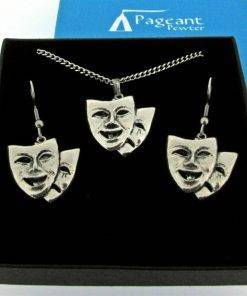 Theatrical Mask Jewellery Gift Set - high quality pewter gifts from Pageant Pewter