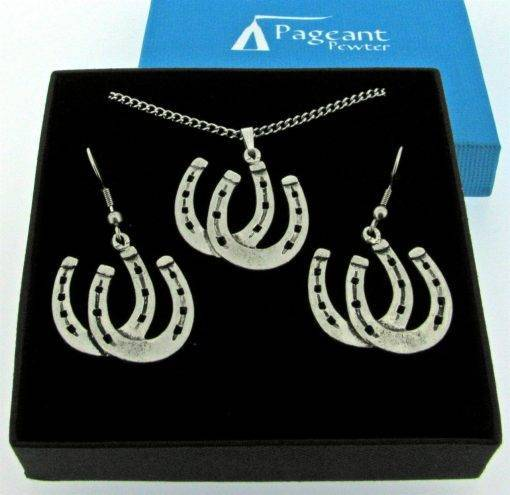 Horseshoes Jewellery Gift Set - high quality pewter gifts from Pageant Pewter