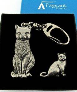 Cat Keyring Gift Set - high quality pewter gifts from Pageant Pewter