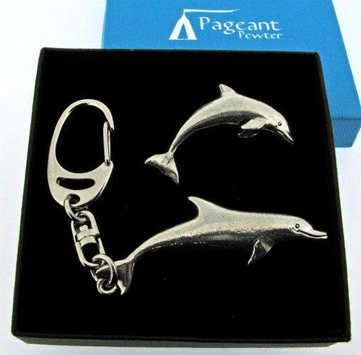 Dolphin Keyring Gift Set - high quality pewter gifts from Pageant Pewter