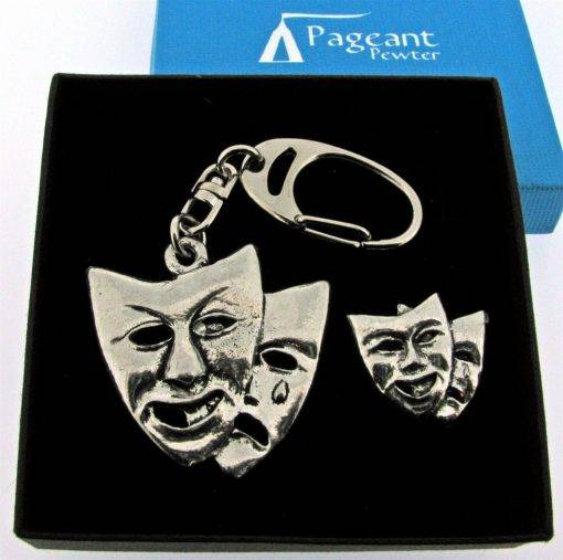 Theatrical Masks Keyring Gift Set - high quality pewter gifts from Pageant Pewter