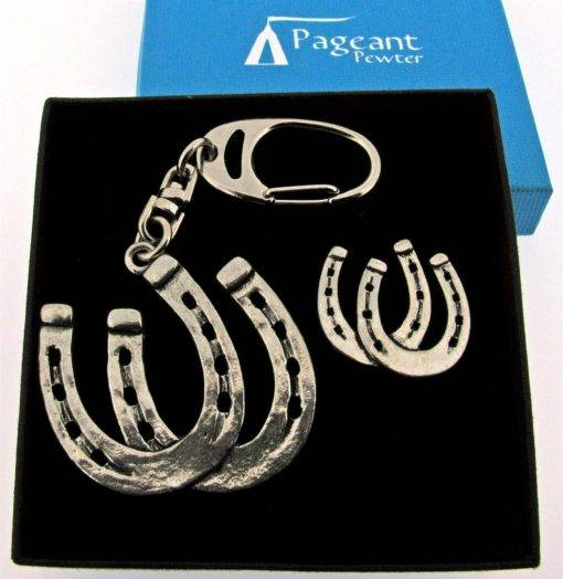 Horseshoes Keyring Gift Set - high quality pewter gifts from Pageant Pewter