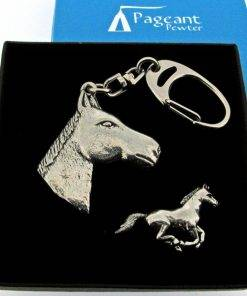 Horse Head Keyring Gift Set - high quality pewter gifts from Pageant Pewter