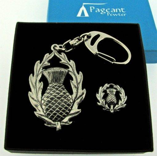 Thistle Keyring Gift Set - high quality pewter gifts from Pageant Pewter