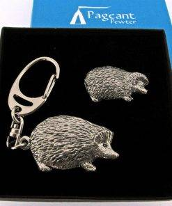 Hedgehog Keyring Gift Set - high quality pewter gifts from Pageant Pewter