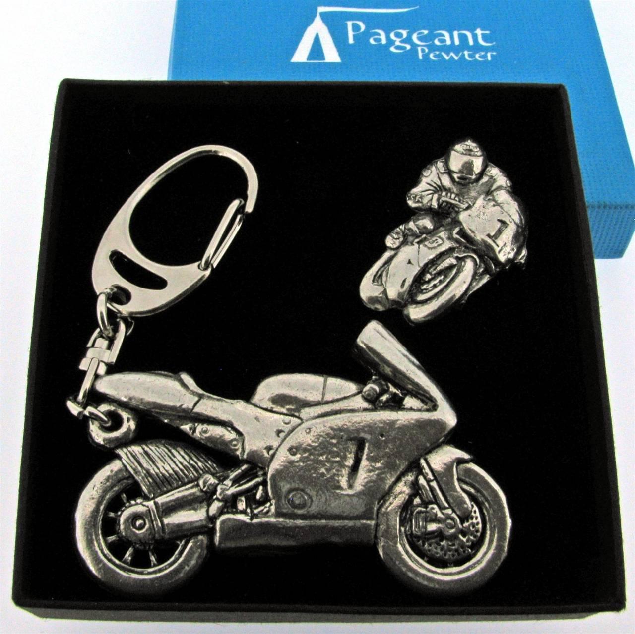 Sports Bike Motorcycle Pewter Keyring And Pin Badge Gift Set
