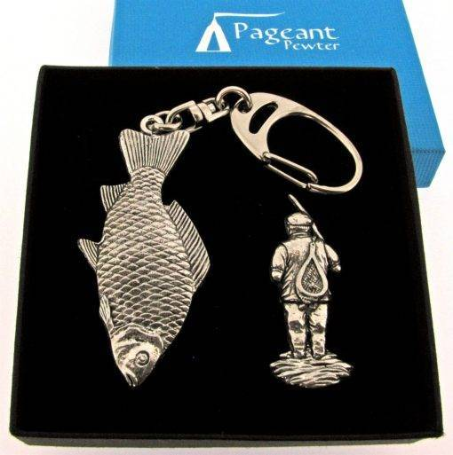 Fishing Keyring Gift Set - high quality pewter gifts from Pageant Pewter