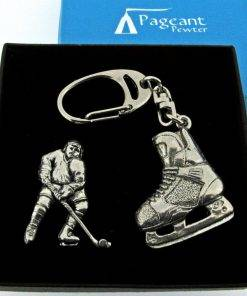 Ice Hockey Keyring Gift Set - high quality pewter gifts from Pageant Pewter