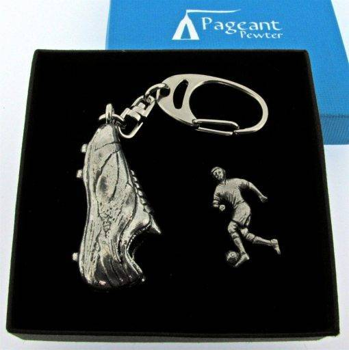 Football key Ring Gift Set - high quality pewter gifts from Pageant Pewter