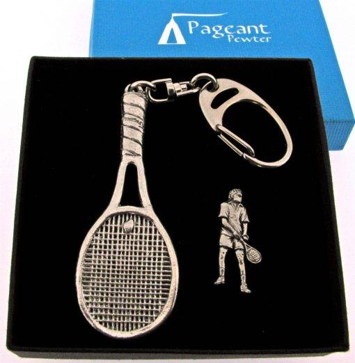 Tennis Keyring Gift Set - high quality pewter gifts from Pageant Pewter