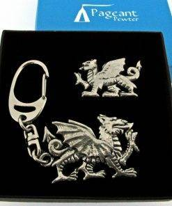 Welsh Dragon Keyring Gift Set - high quality pewter gifts from Pageant Pewter
