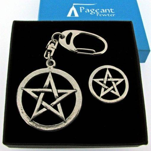 Pentangle Keyring Gift Set - high quality pewter gifts from Pageant Pewter