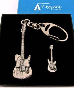 Electric Guitar Keyring Gift Set - high quality pewter gifts from Pageant Pewter