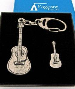 Acoustic Guitar Keyring Gift Set - high quality pewter gifts from Pageant Pewter