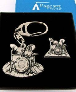 Drums Keyring Gift Set - high quality pewter gifts from Pageant Pewter